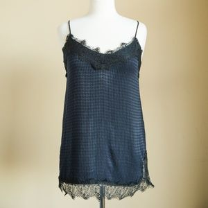 Zara Never Worn Navy Tank Top with Black Lace